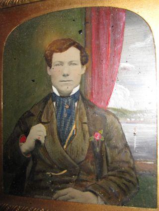 Antique American Folk Art Painted Ambrotype Hudson River Schooner Painting Photo photo