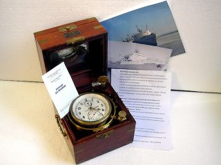 1 - Mchz 6mx Marine Ship Submarine Chronometer Vintage Russian Navy Clock + Box photo