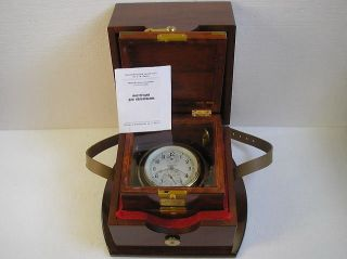 1 - Mchz Marine Ship Submarine Chronometer Vintage 1966 Russian Navy Clock + Box photo