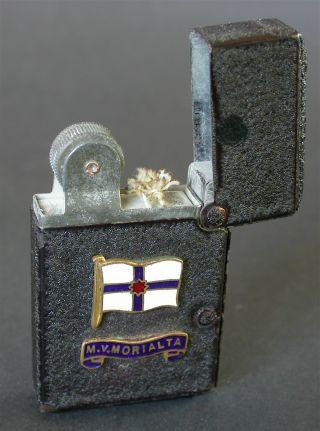 Ww2 Benlow (english) Service Lighter With Enameled Badge M.  V.  Morialta Australia photo