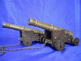 Pair Antique Model Brass Cannon On Wooden Navy Carriage Mark Us 1810 War Of 1812 photo