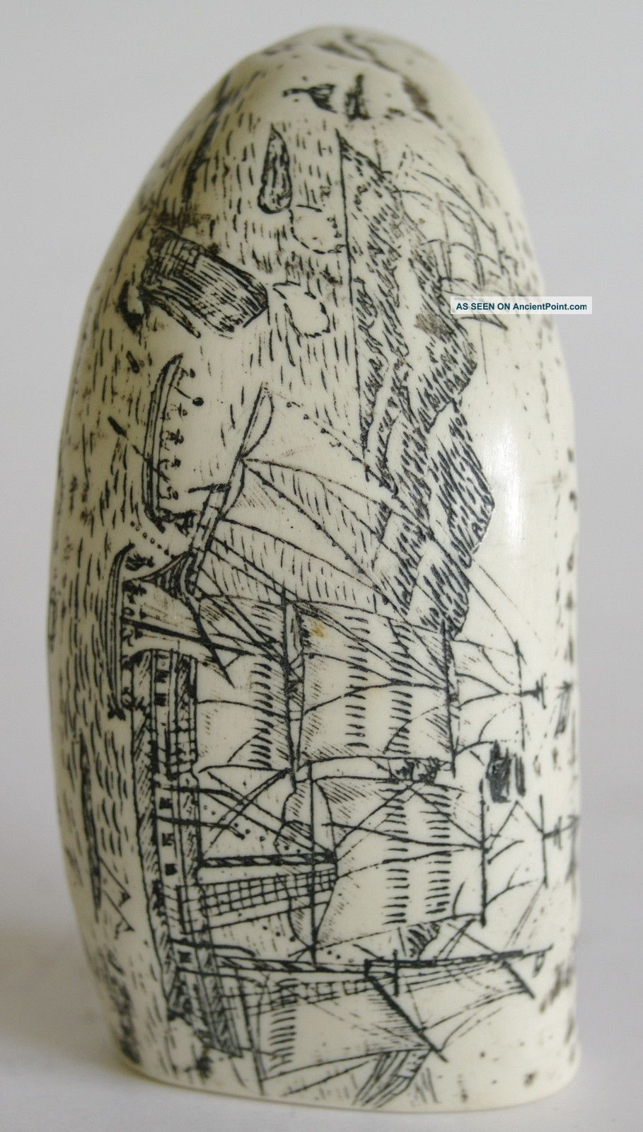 As New Imitation Scrimshaw Whale Tooth - Whaling Scene - Vgc Other photo