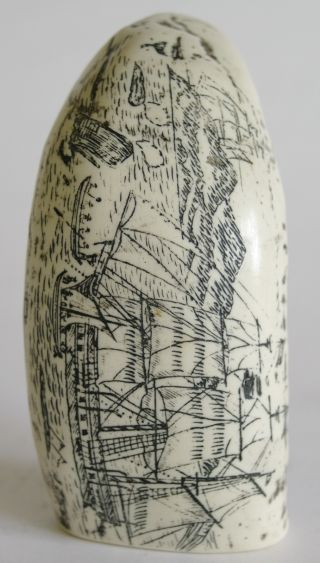 As New Imitation Scrimshaw Whale Tooth - Whaling Scene - Vgc photo