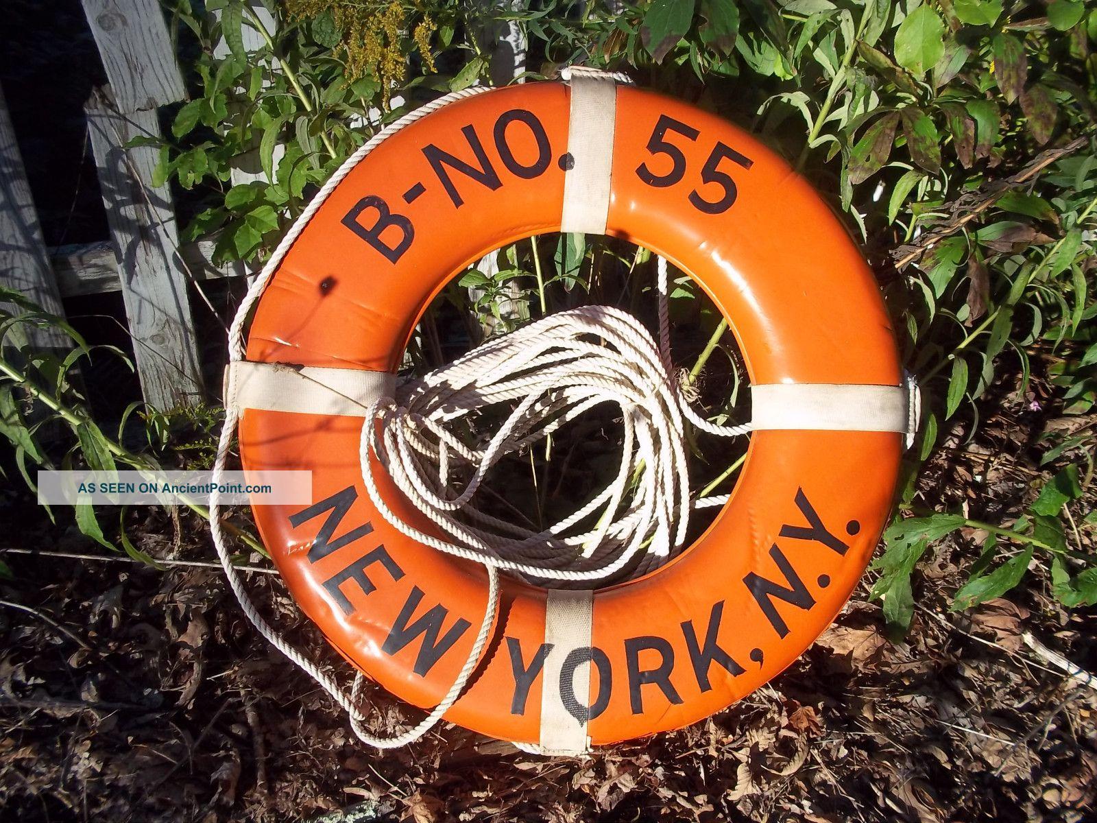 Vtg Jim Buoy Throwable Life Ring B - No.  55 New York,  N.  Y.  Brass 1969 Coast Gaurd Tag Other photo