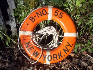 Vtg Jim Buoy Throwable Life Ring B - No.  55 New York,  N.  Y.  Brass 1969 Coast Gaurd Tag photo