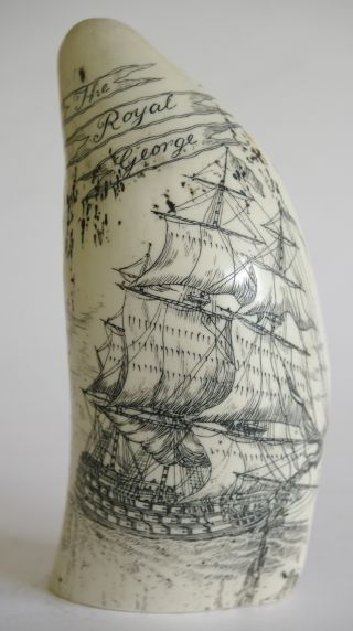 Vintage Imitation Scrimshaw Whale Tooth - Royalgeorge - Vgc photo