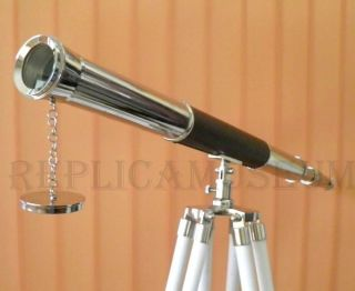 Vintage Harbormaster Chrome Telescope With White Stand - Vintage Nautical Prop photo