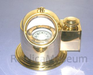 Brass Binnacle Compass With Oil Lamp Nautical Helmet Compass With Oil Lamp Gift photo