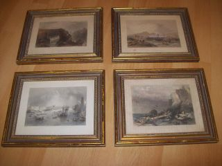 4 Antique Ship Nautical Framed Colored Engravings England Prints 1850 ' S Old $125 photo