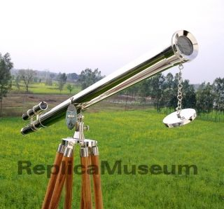 Nickel Plated Brass Double Barrel Griffith Astro Telescope With Wooden Stand photo