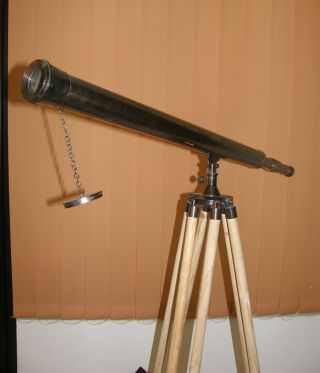 Harbor Master Telescope Antique W/wooden Tripod Stand Collectible Nautical Prop photo