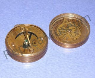 Antique Sundial Compass W/lid Brass Nautical Compass Collectible Marine Prop photo