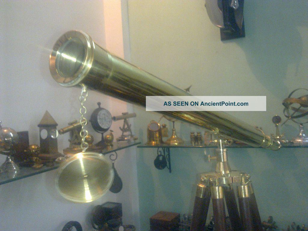 U.  S.  Navy Griffith Astro Brass Telescope With Tripod Stand - Vintage Deco Art Telescopes photo