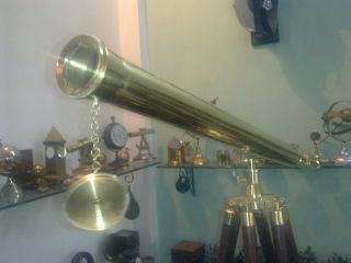 U.  S.  Navy Griffith Astro Brass Telescope With Tripod Stand - Vintage Deco Art photo
