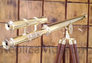 Us Navy Griffith Astro Telescope Double Barrel Nautical Telescope W/tripod Stand photo