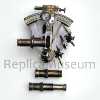 Antique British Navy Sextant W/box Brass Nautical Collectible Marine Prop Gift photo