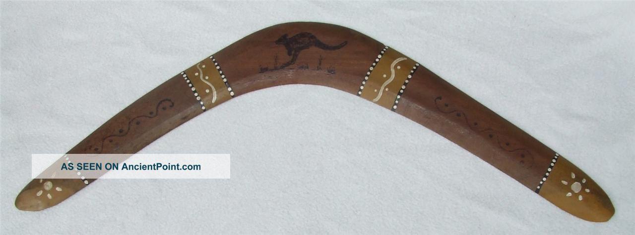 Vintage 1950s Aboriginal Australian Painted Pokerwork Wood Boomerang Wirra Tribe Pacific Islands & Oceania photo