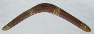 Vintage 1950s Aboriginal Australian Painted Pokerwork Wood Boomerang Wirra Tribe photo