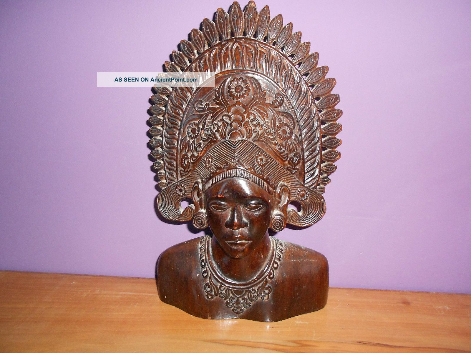 Balinese? Carved Wooden Bust,  Dark Hardwood.  12