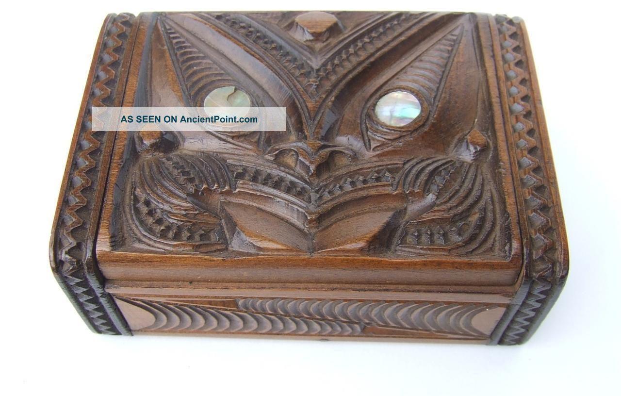 Vintage C1930 - 50 ' S Tapu P H Leonard Maori New Zealand Carved Wood Paua Shell Box Pacific Islands & Oceania photo