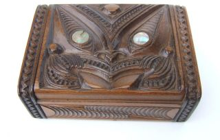 Vintage C1930 - 50 ' S Tapu P H Leonard Maori New Zealand Carved Wood Paua Shell Box photo