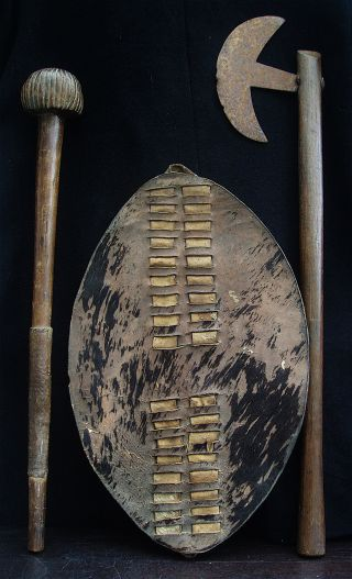 Authentic 19thc Zulu Knobkerrie,  Axe And Shield photo