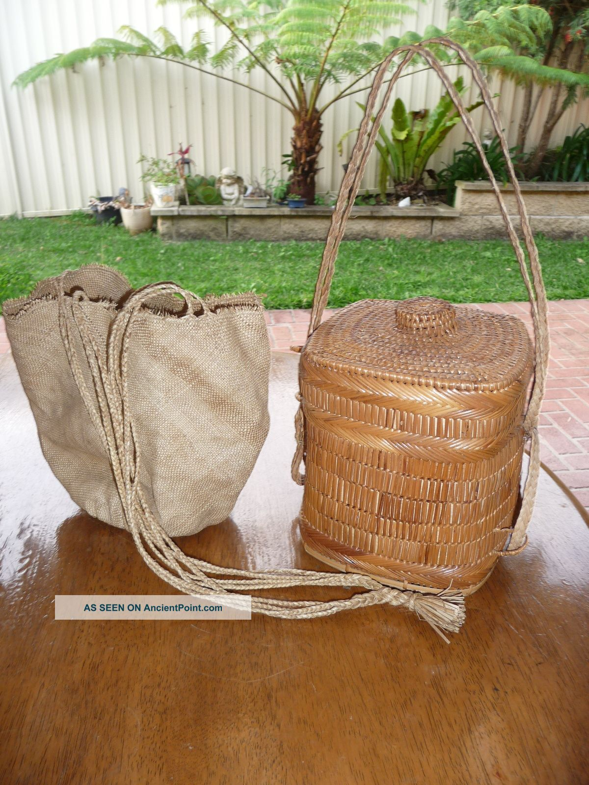 Two Vintage Woven Native Baskets,  Borneo & Papua New Guinea 1960 ' S. Pacific Islands & Oceania photo