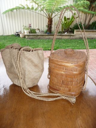 Two Vintage Woven Native Baskets,  Borneo & Papua New Guinea 1960 ' S. photo