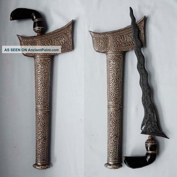 Authentic Old Keris 15 Luk Kalawijan Bugis Malay Silver Sterling Art Rl91 Pacific Islands & Oceania photo
