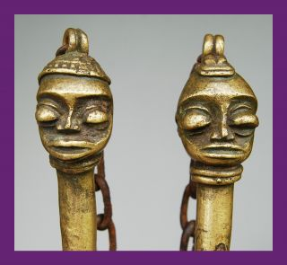 Pair Of Edan Bronzes From Nigeria ' S Yoruba Secret Society,  Nigeria photo