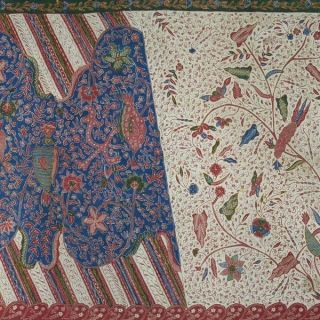Vintage Batang Hand Drawn Batik Tulis Fabric Textile Cloth Wax Dye Jawa Bz84 photo