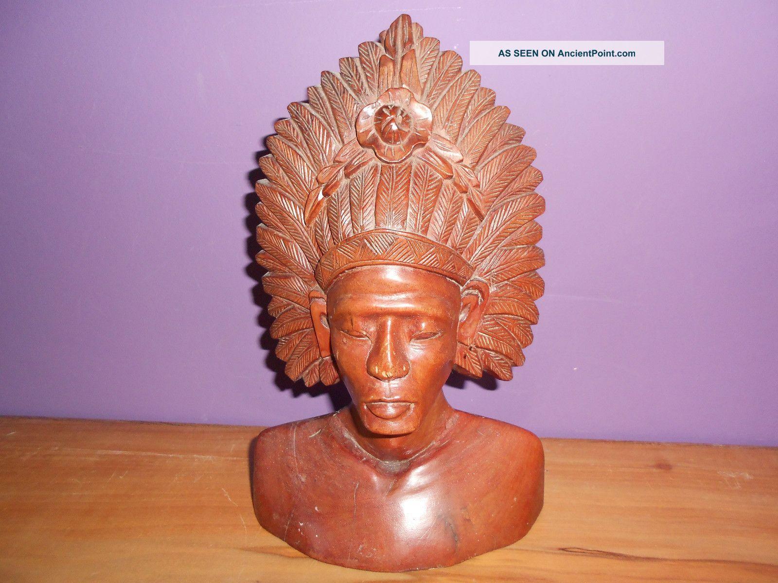 Balinese? Carved Wooden Bust,  Light Hardwood.  9