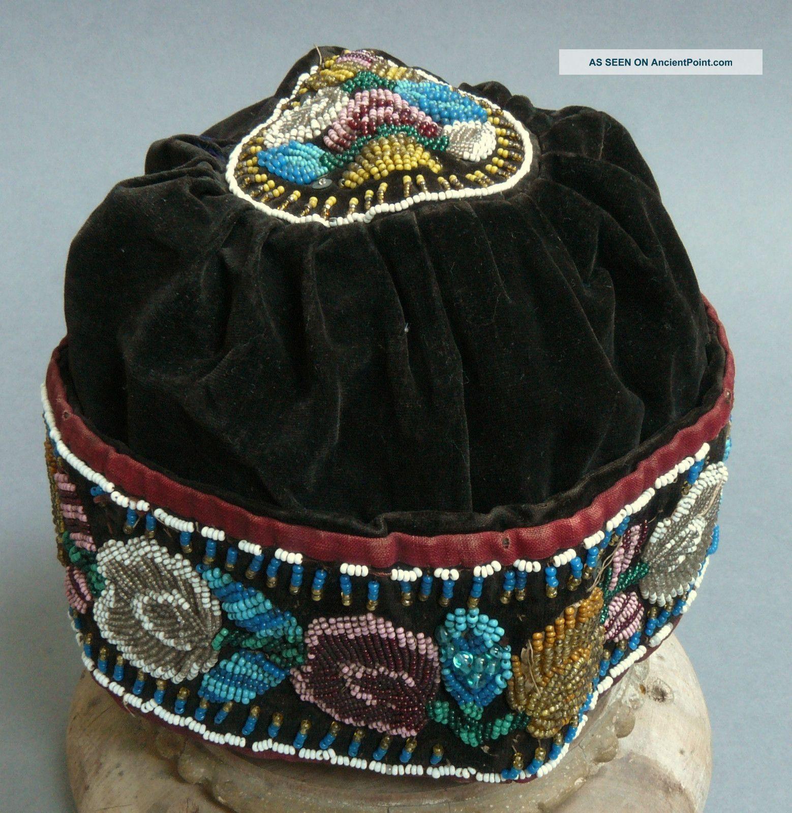 Antique 19c Native American Iroquois Beadwork / Beaded Hat / Cap C1850 - 80 Native American photo