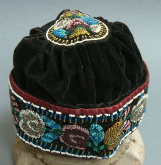 Antique 19c Native American Iroquois Beadwork / Beaded Hat / Cap C1850 - 80 photo