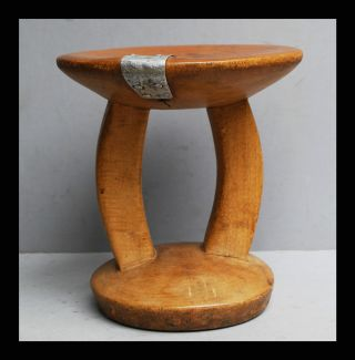 A Large Immaculate Headrest From Ne Africa With Indigneous Metal Repair photo