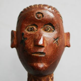 A Fine Figurative Staff From Kaguru Tribe Of Tanzania,  Metal Stand photo