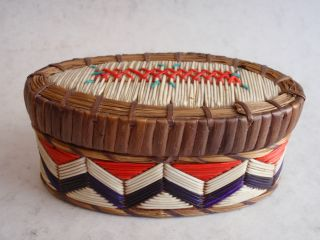 Native American Bark Oval Box Decorated With Quills photo