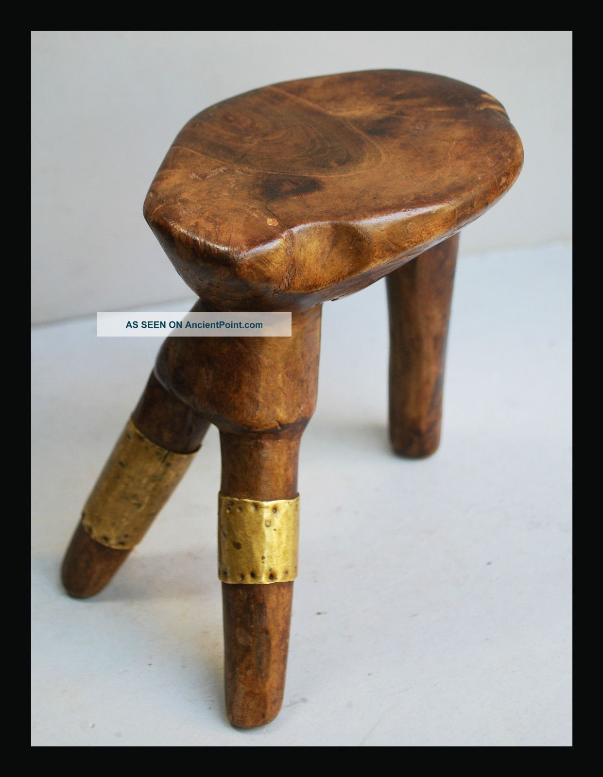 A Surprising Latuku Headrest W Brass Bands,  From North Eastern Africa Other photo