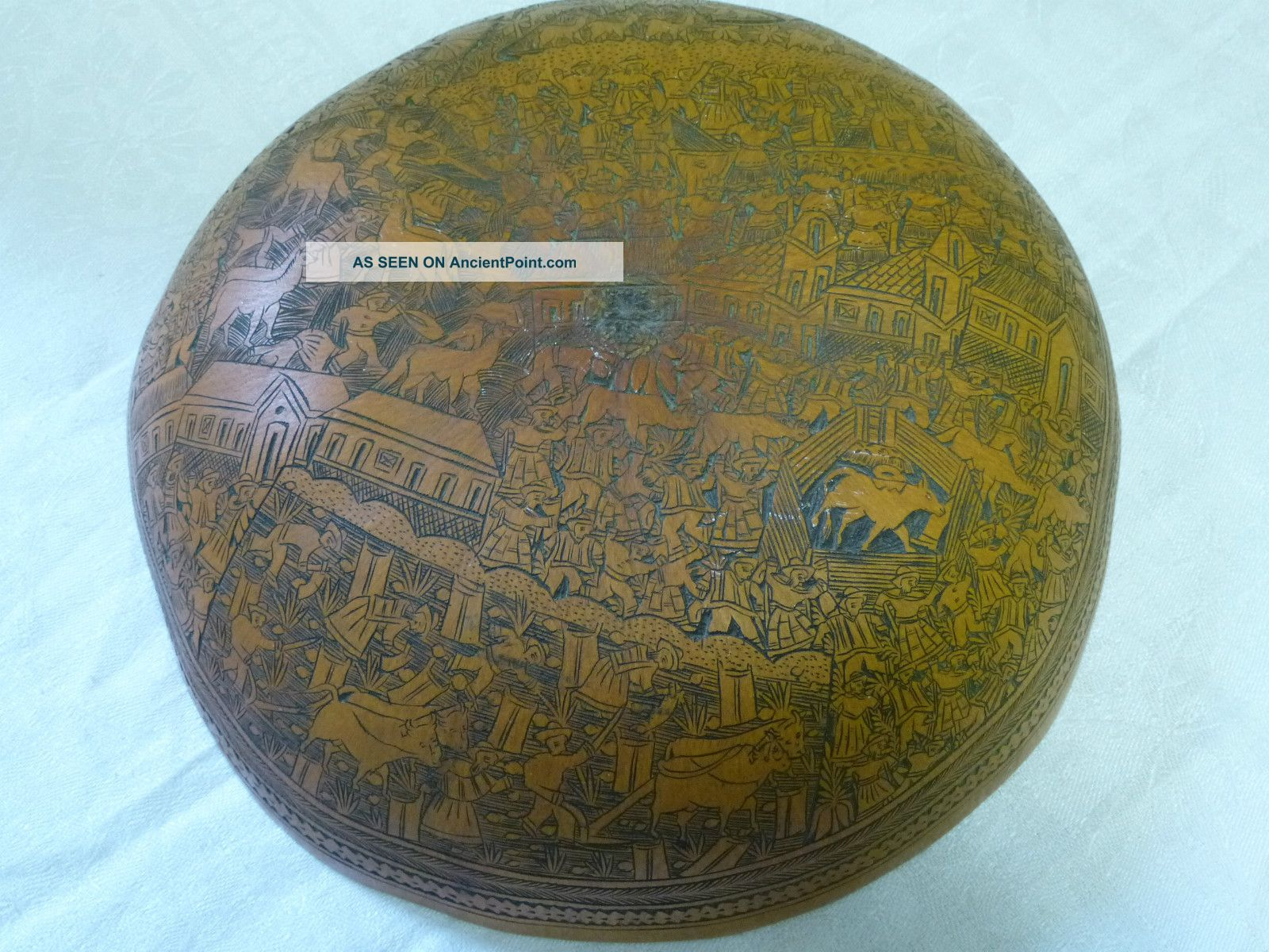 Antique Carved Gourd Minute Detail Peru /south America Farmers Dancers Llamas Latin American photo
