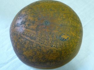 Antique Carved Gourd Minute Detail Peru /south America Farmers Dancers Llamas photo