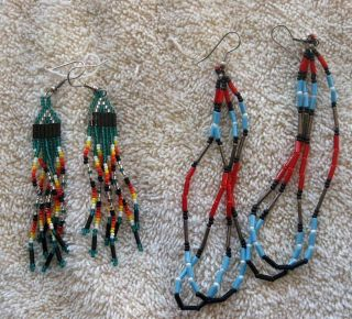 Two 2 Pair Fully Beaded Northern Cheyenne Indian Dangle Earrings - Montana photo