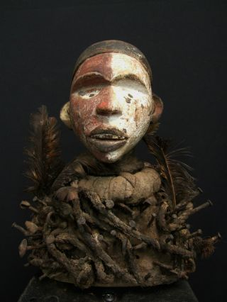 African Tribal Bacongo Nkonde Nail Fetish Figure photo