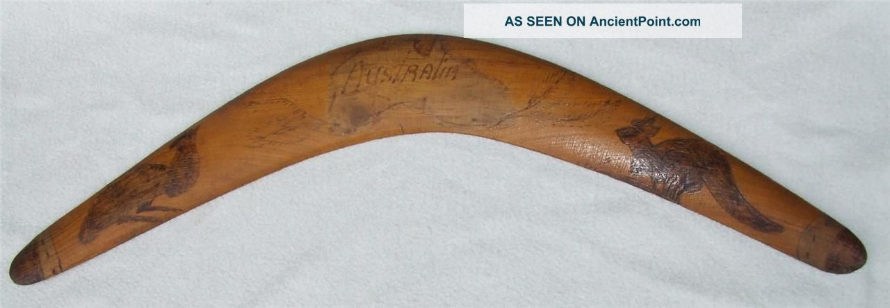 Vintage C1950 ' S - 60 ' S Aboriginal Australian Pokerwork Wooden Boomerang Pacific Islands & Oceania photo