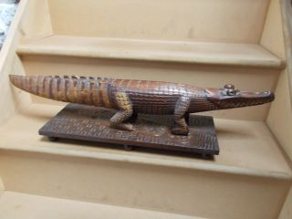 Antique Papua New Guinea Carved Wood Alligator Figure On A Base photo