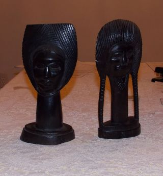 Two (2) African Blackwood Carved Heads From Tanzania (pre - 1965) photo