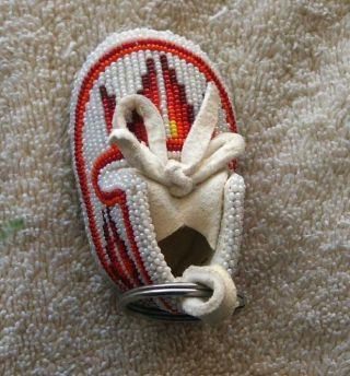 Shoshone Full Beaded Small Hide Moccasin Key Chain - Bottoms Beaded photo