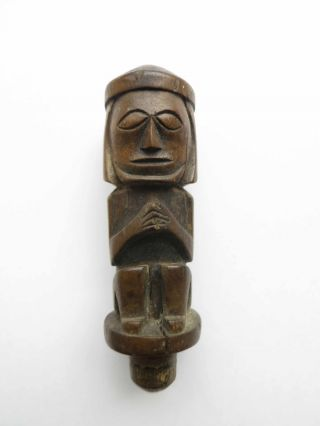 An Antique Batak Carved Wooden Stopper - Early 20th Century (nias Dayak) photo