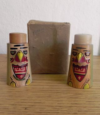 Vintage Set Of Canadian Victoria Bc Totem Pole Wooden Salt & Pepper Shakers Vgc photo