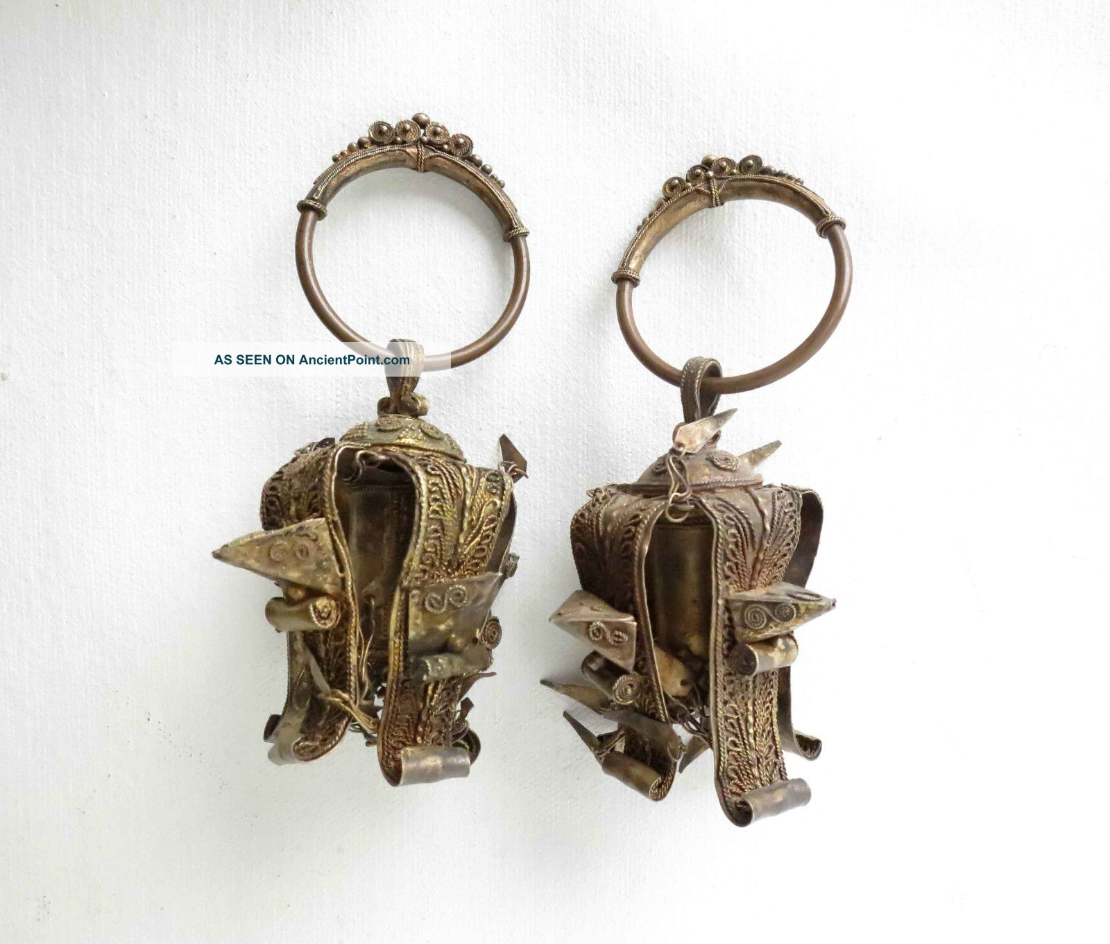 Rare Pair Of Batak Antique Earrings 19th - Early 20th Century (nias Dayak) Pacific Islands & Oceania photo