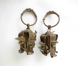 Rare Pair Of Batak Antique Earrings 19th - Early 20th Century (nias Dayak) photo